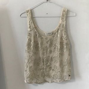 Abercrombie & Fitch Cream Sequin Floral Tank Top